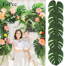 Buy 35x29CM 10Pcs Artificial Tropical Palm Leaves DIY Christmas Party Wedding Table Decorations Beach Theme Home Garden Decor for $3.15 in AliExpress store