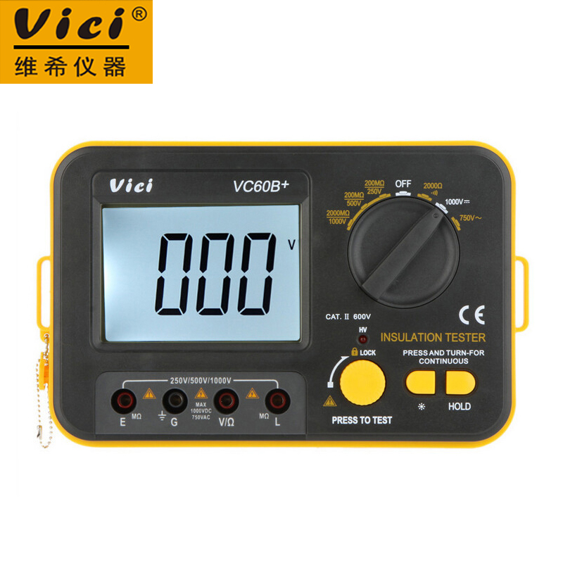 Vici VICHY VC60B+ Insulation Resistance Tester Megohmmeter Ohmmeter Voltmeter DVM 1000V 2G w/ LCD Backlight<br>