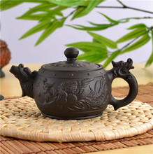 Dragon and Phoenix Tea Pot 2015 NEW Model YIXING TEAPOT Premium 350cc BLACK 350ml Capacity Purple Clay Kung Fu Tea Kettle Set(China)