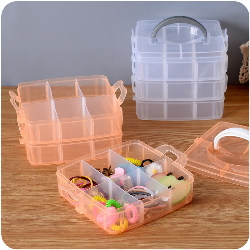 Multifunction Three-layer Storage Box Clear Plastic Foldable Storage Box Household Plastic Tool Organizers Purple