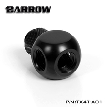 "Barrow G1 / 4 ""X4 Black  silver Extender rotation 4-Way cubic Adaptor seat water cooling computer accessories TX4T-A01"