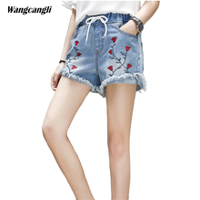 flower jeans woman embroidered jeans femme summer short lace up denim harem pants ladies fashion sexy cuffs tassel wangcangli(China)