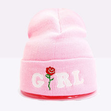 Fashion Women's Winter Embroidered GIRL Rose Cuff Beanies Hat Knit Skullies Cap White Pink Black Aqua