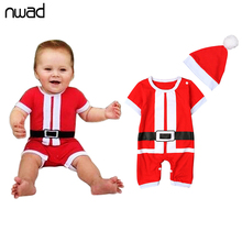 2017 New Baby Christmas Red Rompers Toddler Boy Girl Short Sleeve Jumpsuits With A Hat Newborn Baby One Piece Clothing FF150