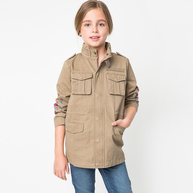 Cute Fashion Embroidery Jacket Coats Autumn Winter Outwear Western-style Long Coats Children Mandarin Collar Design<br><br>Aliexpress