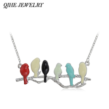 QIHE JEWELRY Enamel Cute Animal Love Birds Pendant Six Bird On Branch Women Long Thin Chain Necklace Jewelry Accessories