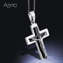A&N Unisex Black&Silver Cross Pendant Choker Necklace Free Street Style Jewelry Region Jesus Pendant Thanksgiving Christmas Gift(China)