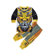 New Arrival Tracksuit for Boys Yellow Bumblebee Robots Transformer Pattern Children's Fashion Boy Clothing set age 2 3 4 5 6 7 Y