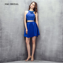 H&S Bridal Royal Blue Halter Sleeveless Short Two Pieces Party Prom Dresses Mini Sequins Beaded Sexy Girls Cocktail Dresses