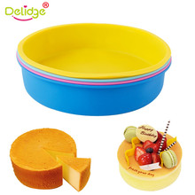 Delidge 1 pc Round Shape Pan Cake Mold Large Size Bread Cake Pan Mold Silicone Round Shape Chiffon Cake Chocolate Mold(China)