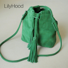 2017 Autumn Natural Leather Small Bucket Shoulder Bag Fashion Leisure Cute Ibiza Suede Fringe  Phone Green Brown Mesenger Bag