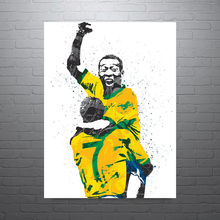 "original sport ART football KING Pele oil painting--TOP ART 100% hand painted -32"" inches -FREE SHIPPING COST(China)"