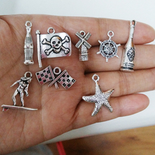 40pcs/lot mixed Models Marine animal And Marine Sports Charm Tibetan Silver color Mermaid Sports Pendant For DIY Jewelry Making