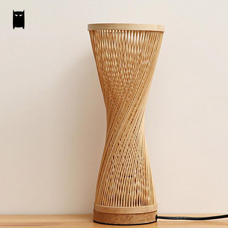 2018 bamboo wicker rattan spire vase table lamp fixture creative 3 aloadofball Images