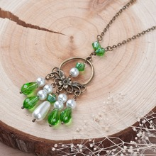 8SEASONS New Fashion Jewelry Handmade Necklace Antique Bronze Link Chain Green Beads imitation Pearl Tassel Flower Pendant