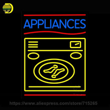 Neon Sign Appliances With Washing Machine Neon Light Glass Tube Arcade neon Bulb Lamp advertise handcrafted Bright Lamp 31x24