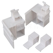 Mxfans 10pcs Supermarket Cashier Desk Model 1:75 with Shelfs and Drawers White(China)