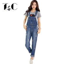 TC Brand Women Jeans Jumpsuit Spring Casual Vintage Skinny Washed Bleached Scratched Ripped Denim Overall Women Clothing FT00560