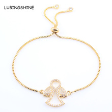 LUBINGSHINE Crystal Baby Girls Charms Bracelet for Women Gold Color Chain Cubiz Zirconia Adjustable Bracelets Jewelry Gifts