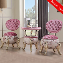 Russian leisure ottoman stools 3pcs a set fashion balcony tables and chairs bedroom leisure chair coffee table combination