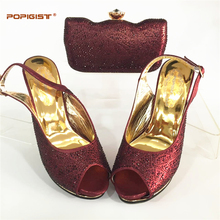 Wine Color Italian Shoes with Matching Bags for Wedding Women Shoes and Bag to Match for Parties Nigerian Shoes and Bag Sets(China)