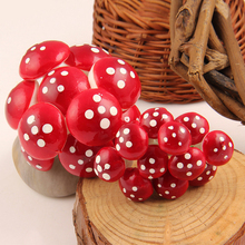 50 PCS Garden Ornament Plant Pots Fairy Garden Decoration Accessories Mini Red Mushroom