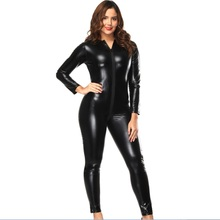 Buy Sexy Lady Latex Catsuit Black PU Leather Bodysuit Costume Elastic Wet Look Jumpsuit Playsuit Women Clubwear Lingerie