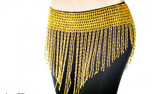 Cheap Free Shipping Handmade Beaded Hip Scarf  Belly Dance Waist Band Golden Silver Gypsy Tribal Belt Belly Dance Costume