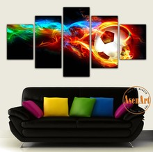 5 Panel Fire Football Picture Colorful Painting for Living Room Soccer Fan Home Decor Wall Art Canvas Prints Unframed