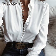 Buy TWOTWINSTYLE Basic Shirt Women Lapel Collar Single Breasted Large Size Blouse Ladies 2018 Spring Fashion Vintage Top Clothes for $16.20 in AliExpress store