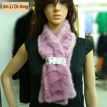 2017 Jin Li Di Ang New Designs Women's Real Mink Fur Scarf with Patterns Spring Autum Winter Mink Fur Scarves Ring