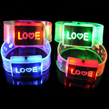 Creative Flashing LED Bracelet Love Happy Word Light-Up Blinking Wristbands Glow Bangle Bar Disco Concert Cheering Props