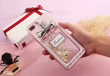 Fashion Bling Glitter Liquid Case For iPhone 7 6S 6 7 Plus Luxury Brand design Perfume Bottle Ice Cream Phone Case