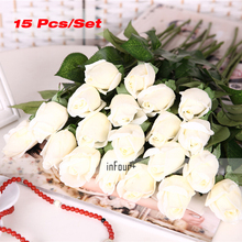 [White Rose] Vintage Home Decor Flower Real Touch Rose Silk Flowers Artificial Flowers For Wedding Decoration Fake Flowers(China)