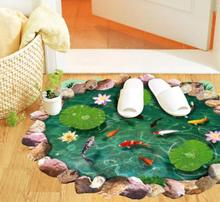 3D Lotus Pond On The Ground 3D Water Pool Wall Sticker Waterproof Gold Fish Pond Living Room Kids Floor Wall Stickers Decals