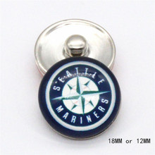 MLB seattle mariners Sport Glass Snaps buttons 18mm 12mm fit snap Leather bracelet best baseball fans gift