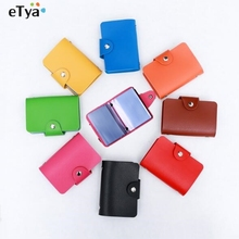 eTya Leather Women Business Credit Card Wallet Purse Name Id Card Holder Bags Case Wallet Box For Women Men As a Gift(China)
