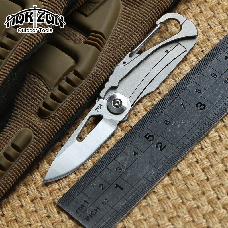 Korizon original 704 outdoor gear Folding knife Titanium handle D2 blade steel Tactical hunt camping survival Knives EDC tools<br>