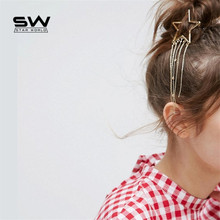 1 piece gold color Five holes hollow star tassel hairpin 2017 new arrive alloy Star Hair Clips Hairpin hair tools for women