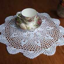 Round Lace Hand Crocheted Doily Placemat Vintage Floral Coasters Home Coffee Shop Dining Table Decorative Gadgets 37CM
