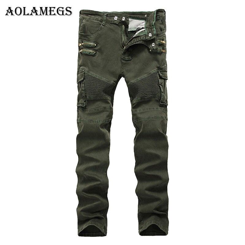 Aolamegs Men Jeans Pants Army Green Double Fake Zipper Solid Motorcycle Full Length Trouser Summer Splice Denim Fashion StraightÎäåæäà è àêñåññóàðû<br><br>