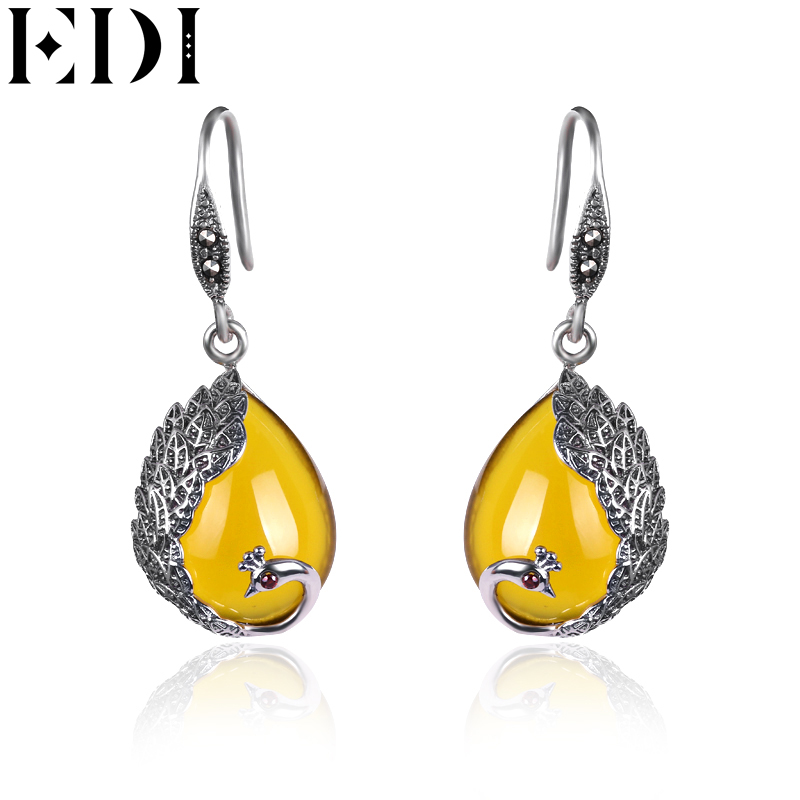EDI Vintage Natural Stone Drop Earrings Antiallergic Peacock Shape Chalcedony Indian Bohemian Earrings Jewelry For Women(China)