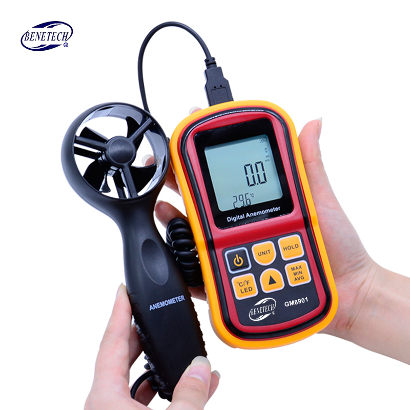 Free Shipping GM8901 45m/s (88MPH) LCD Digital Hand-held Wind Speed Gauge Meter Measure Anemometer Thermometer<br>