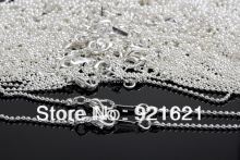 "wholesell 18.5"" length Plated Silver diameter 1.5mm Ball necklace Chain with Lobster Clasp Hook 30pcs/lot D0011(China)"