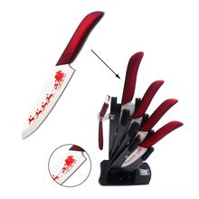 Christmas Gift Ceramic Kitchen Knives XYJ New Year Home Ceramic Knives+ Peeler+ Knife Stand Beautiful Pattern Kitchen Knives(China)