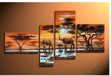 A happy family fortune tree 4 pcs set wall art in Africa elephant style landscape painting morning cloud Dafen Oil Painting(China)