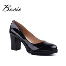 Bacia High Quality Genuine Leather Oxford Shoes For Women Slip-on Office Ladies Shoes Casual Round Toe Heels Women Shoes VE005(China)