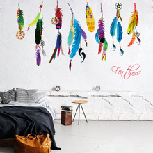 New Arrival 2017 Wall Sticker Vinyl Dream Flying Feather DIY 50x70cm House Decorations For Living Room Bedroom Decals(China)