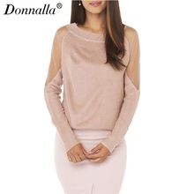 Donnalla Oversized Sweater Autumn Pullovers Long Sleeve Sexy Mesh Patchwork Womens Sweaters Casual Women Sweater Knitwear