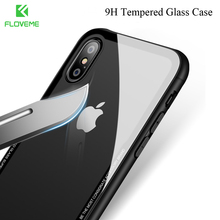 FLOVEME Tempered Glass Case For iPhone X iPhone 8 7 Plus Phone Cases Luxury Ultra Thin Transparent Glass Cover For iPhone X 7 8(China)